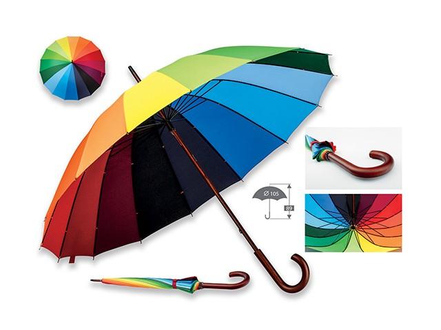 parapluie ouverture manuelle polyester, 16 panneaux