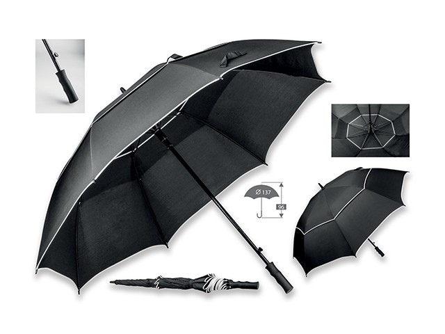 parapluie de golf en polyester, noir
