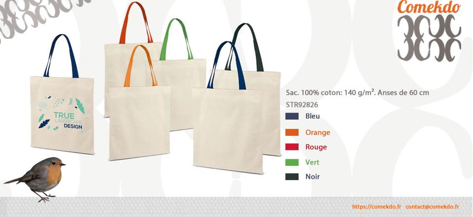 Sac. 100% coton: 140 g/m². Anses de 60 cm